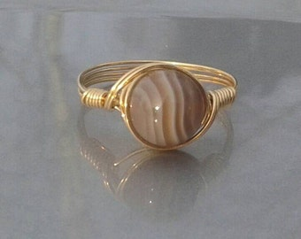 LG Botswana Agate Custom Sized Argentium Sterling Silver Or 14k Gold Filled Wire Wrapped Ring