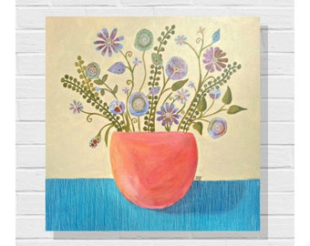 Original Painting / Wildflowers / Contemporary Art / 20x20 inches / Acrylic on Canvas