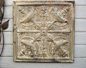 Vintage Ceiling Tin Tile.  2'x2'  FRAMED.  Ready to Hang.  Wall art.  Rustic wall decor. Antique architectural salvage from Texas.
