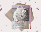 Baby Thank You Card with photo and pre-printed message - pink and gold watercolor