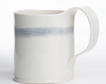 Hand Built Porcelain Striped Mug - Gray