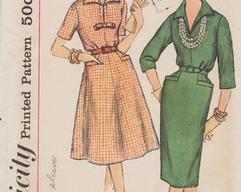 Simplicity 3121 / Vintage 50s Sewing Pattern / Dress / Size 18 Bust 38