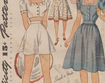 Vintage 40s Sewing Pattern / Simplicity 4321 / Playsuit Romper / Size 16 Bust 34