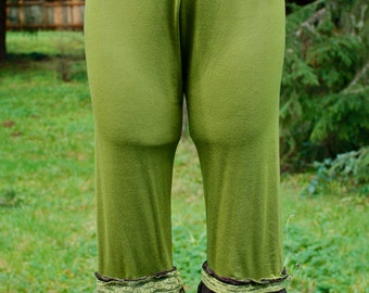 Light Green & Brown Lace Bamboo Lycra Bloomers
