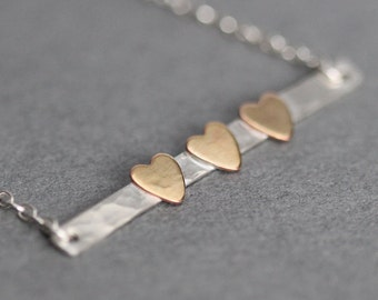 2, 3, 4, 5 Heart Necklace, Gift for Mom, Valentines Day Gift for Wife or Mother, Skinny Bar Necklace, Family Necklace