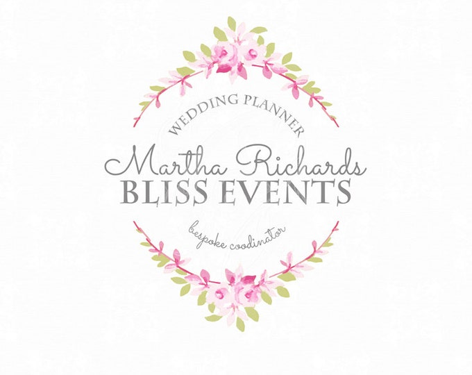 Premade Logo Romantic Floral Wreath