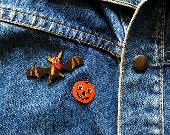 Halloween Pumpkin Jackolantern and Vampire Bat Retro 50s 60s Pin Pinback Lapel Pin Button Brooche LIMITED EDITION Set of Two