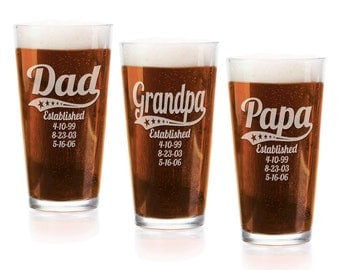 Personalized Dad Daddy Grandpa Fathers Day Pub Glass 16 Oz Engraved Pub Beer Mug Gift for Papa, American Dad, Hero, Birthday, Christmas