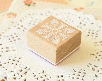 CS-05 WOOD Square STAMP lace doily pattern rubber stamp