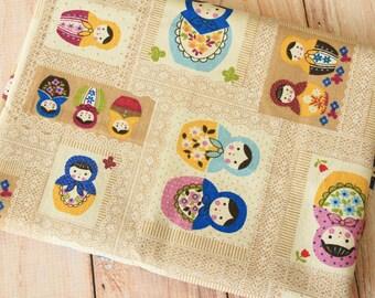 Coffee Russian Dolls Patchwork Cotton Linen blend fabric quarter