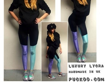 PUCKOO COUTURE Lilac And Mint Green Stretch Lycra Spandex Black Leggings