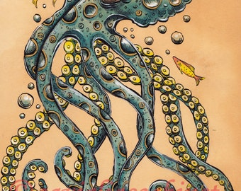 Sparkly Blue Octopus - ORIGINAL ART