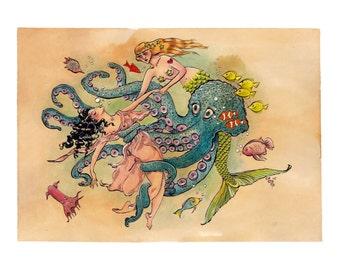 Mermaid Rescue - GICLEE PRINT