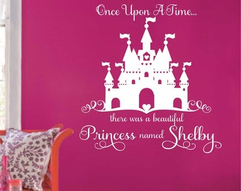 Once Upon a Time, Vinyl Wall Lettering, Vinyl Wall Decals, Vinyl Letters, Vinyl Lettering, Wall Quotes, Princess Name Decal, Castle Decal