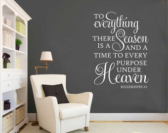 To Everything a Season Decal, Vinyl Wall Lettering, Vinyl Wall Decals, Vinyl Decals, Vinyl Lettering, Wall Decals, Religious Decal