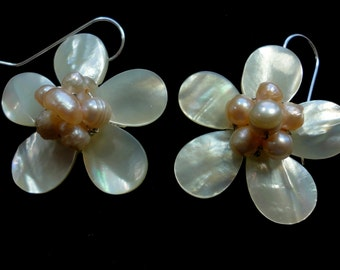 Pearl Earrings Pearl Daisy Flower Earrings With MOP Mabe Pearls and Freshwater Pearls in Sterling Silver