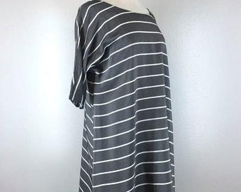 Gray Stripe Loose Tent Swing Tunic Dress