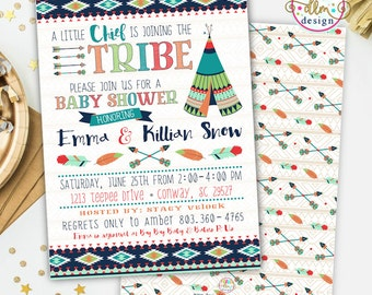 Tribal Baby Shower Invite, Printable Invitation, Teepee Invite, Joining Our Tribe, Indian Boy's Shower Invitation, Aztec Invite, Arrows