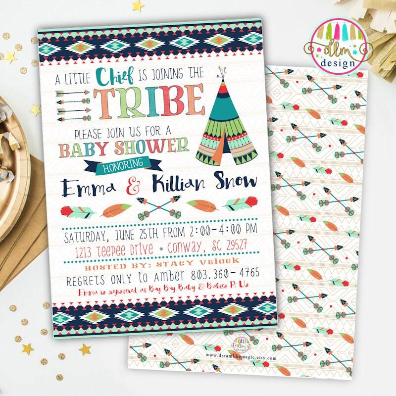Tribal Baby Shower Invite Printable Invitation Teepee