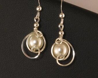 White Pearl Drop Earrings, Sterling Silver Pearl Earrings, Pearl Wedding Jewelry, Asymmetrical Pearl Wire Wrapped Silver Earrings