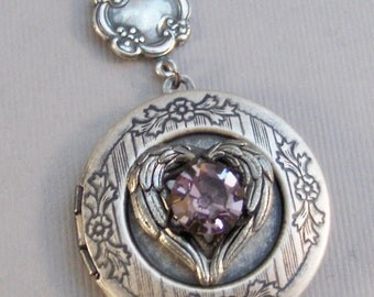 Amethyst Heart,Locket,Antique Locket,Silver Locket,Heart,Amethyst Locket,Amethyst Necklace,Purple Necklace,Amethyst Birthstone,
