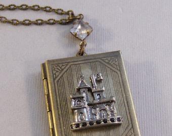 Cinderella,Locket,Locket Necklace,Castle Necklace,Crystal Necklace,Princess Necklace,Castle Locket,Brass Locket,Book Locket,Castle,valleygir