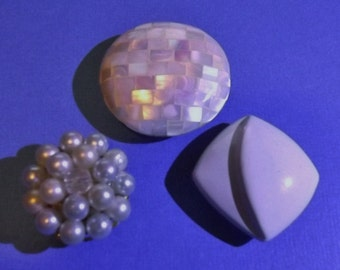 3 Vintage Jewelry Magnets Whites Iridescent & Pearls