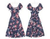 Vintage 70s Dress * Floral Peasant Dress * 1970s Flutter Sleeve Dress * Small - Medium