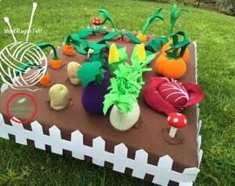 Kids Felt Vegetable Garden - Felt Pretend Play Garden with Felt Veggies for Children - Felt Gardening Plot for Kids - Felt Garden Plush Toy