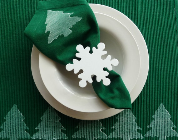 White Snowflake Napkin Rings - Set of 4