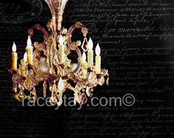 Bedroom Wall Decor, Chandelier Wall Art, Gold, Black, French Writing, Paris Print, Girl Nursery Decor