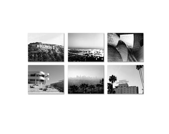 California Print Set - Los Angeles Photography - Black & White Office Decor - Classic Hollywood Photo Set