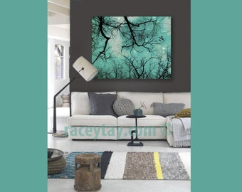 Teal Wall Art, Large Canvas Art, Moon and Stars, Boy Nursery Decor, Starry Sky, Nature Photography