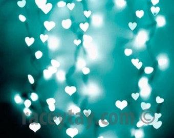 Blue Hearts Print, Valentine Decor, Gender Neutral Baby, Boy Nursery Decor, Blue Wall Art, Turquoise, White