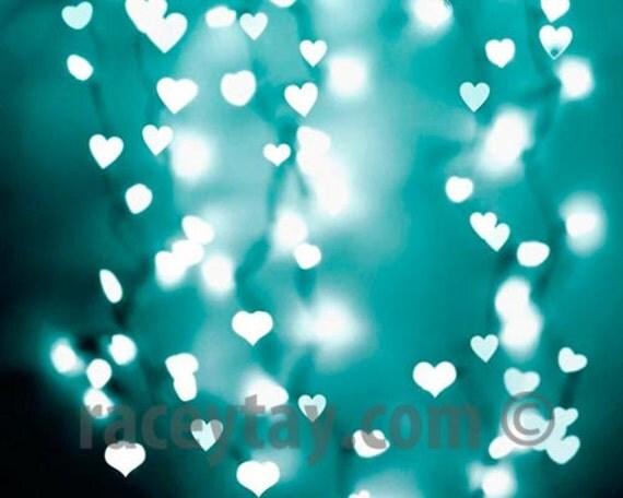 Blue Hearts Print, Baby Nursery Art, Fairy Lights Photos, Gender Neutral Baby Nursery Decor Blue Wall Art, Blue Hearts Photos Nursery prints