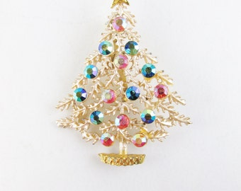 Vintage Christmas Tree Brooch with Aurora Borealis Stones