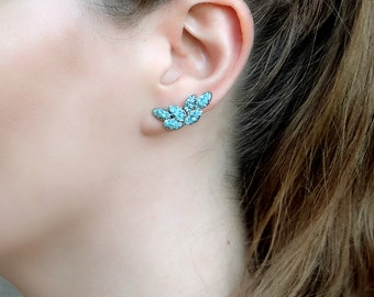 Gold Turquoise Earrings, Ear Climber Statement Earrings, Teal Ear Crawler Studs