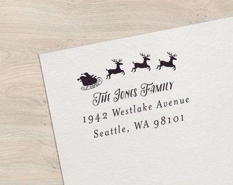 Holiday Address Stamp, Santa Stamp, Custom Holiday Stamp, Christmas Address Stamp, Personalized Stamp, Wood or Self-Inking - Style #40