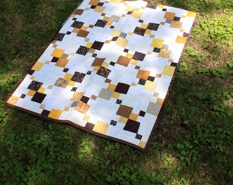 Modern Patchwork Quilt, Baby Quilt, Crib Blanket, Lap Quilt, Throw, Wall Hanging in White, Yellow and Brown by Nstarstudio