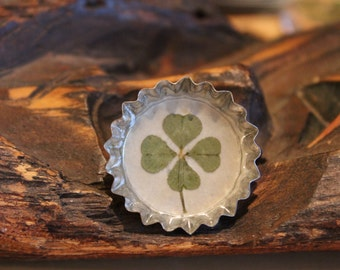 Real Four Leaf Clover Shamrock Irish Pin for St. Patrick's Day to bring Good Luck