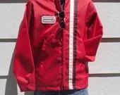 """Vintage 1970's Red Windbreaker """"Hesston"""" Jacket - Car Racing """"Kentucky Bred Sportswear"""" -sz L/XL"""