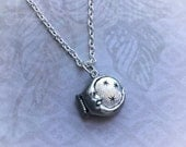 SALE Moon and Stars Locket necklace, soul mate,