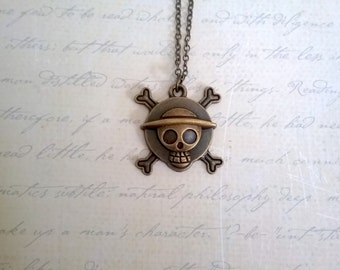 Antiqued Brass One Piece Straw Hat Pirates Jolly Roger Necklace Pendant