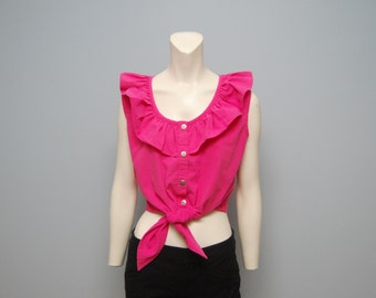 Vintage GITANO Hot Pink Tie/Knot Up Crop Top with Ruffled Collar - Size Medium