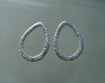 2 pcs, 10x13mm, Sterling Silver Brushed Teardrop Open Work Link, Textured Connector, Earring Findings, CC-0025