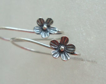 1 Pair, 26x12 mm, 6.5 mm lotus flower, Sterling Silver Larger Oxidized  Lotus Blossom Floral Ear wires - EW-0026