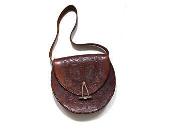 Vintage Tooled Leather Purse / Tooled Leather Bag / Brown Leather Bag / Hippie Leather Bag / Boho Purse