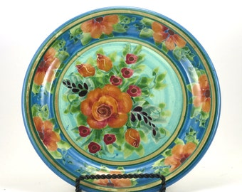 Blue Porcelain Plate - Handmade Floral Pottery Platter - Large Orange Rose Design - Handemade OOAK