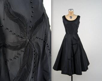 1950s SUZY PERETTE starfish dress • vintage 50s dress • black party dress