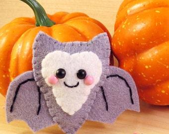 Grey Bat Felt Brooch Hair Clip accessory happy halloween kitsch kawaii spooky cute